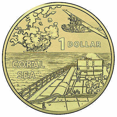 """2017 """" Coral Sea """" One Dollar A War - Close to Home - Uncirculated Coin $1"""