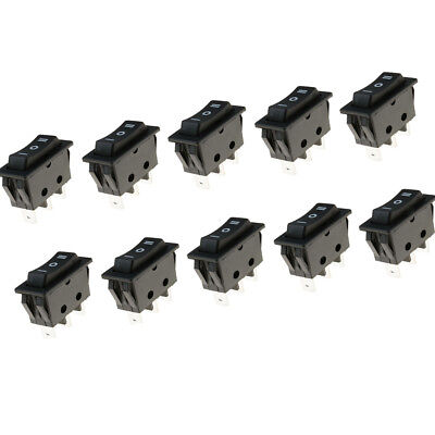 10pcs 15A/250V Black 3Pin ON-OFF Snap in Rectangle Push Button Rocker Switch