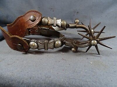 Nice Antique Double Mounted Silver Iron California Vaquero Cowboy Spurs