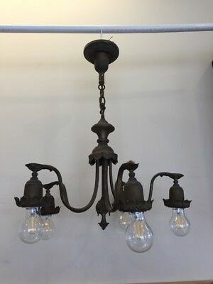 Antique Brass Chandelier Re-wired Fully Working Bulbs Not Included