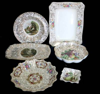 Vintage group of 6 gold chintz floral dishes and bowls inc James Kent