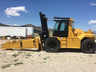 1997 Royal P500 50,000 lbs forklift with IMT tire handler attachment caterpillar