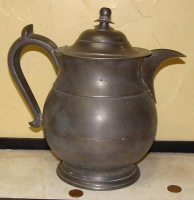 Antique American Pewter Lidded Pitcher, ROSWELL GLEASON, As Found, c. 1840