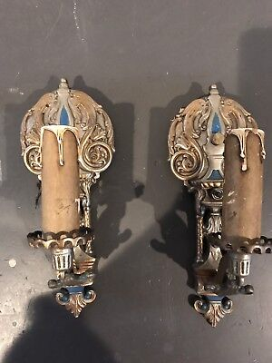 PAIR Antique Brass Metal Art Deco Nouveau Wall Sconce Gothic Light Fixture