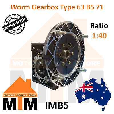 Worm Gearbox Type 63 B5 71 Input Flange 1:40 Ratio 40 Reduction