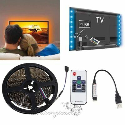 100CM 1M-5M DC 5V 5050 RGB LED Strip Waterproof USB LED Light Strips+RF Remote