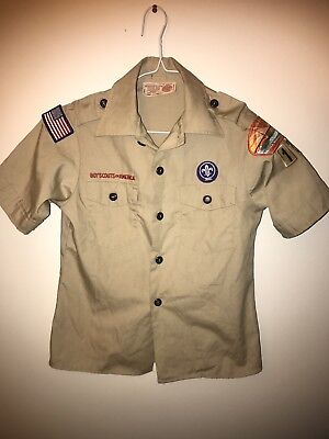 Boy Scouts of America Boys Tan Uniform Shirt, Sized Youth Medium
