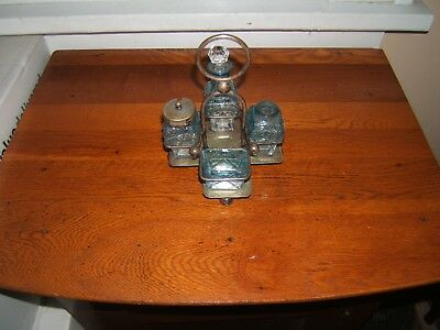 Antique Vintage Small Blue Condiments Holder Bottom Plate Bramwell Co Shefield