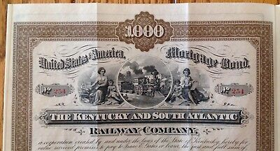 "Lot of 3, 1882 ""The Kentucky and South Atlantic Railway Co. Mortgage Bond $1000"""