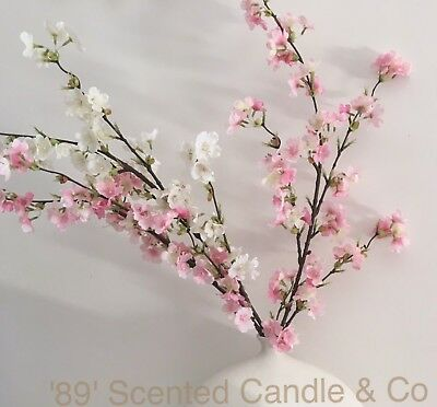 1 x Pink Spray Scented Cherry Blossom Silk Artificial Fake Flower Floral Art