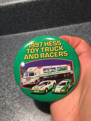 1997 Hess Toy Truck And Racers Employee Advertising Badge Great Condition