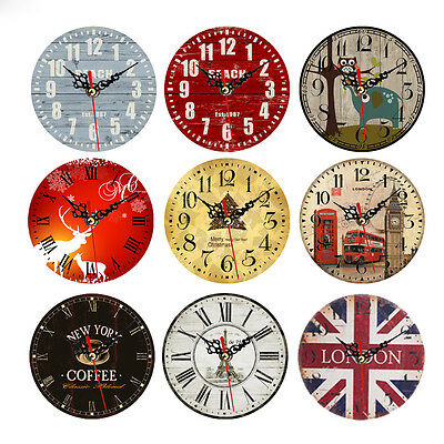 Wall Clock Vintage Rustic Wooden Antique Shabby Chic Retro Home Bedroom Decor