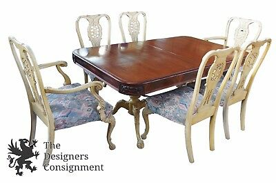 Antique Mahogany Carved Provincial Dining Table & 6 Chippendale Chairs German