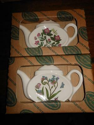 2 x Portmeirion BOTANIC GARDEN Forget-Me-Not & RhododendronTea Bag /Spoon Rest