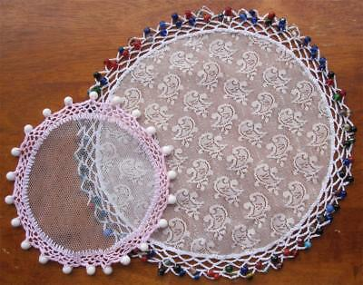 Two Vintage Lace/Crochet/Beaded JUG COVERS 'Never Used'