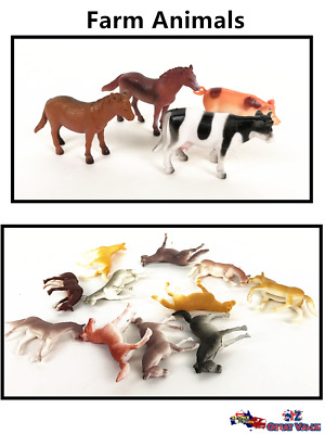 Plastic Farm Animals Play Set Toys Animal Action Figurines Decor Kids Gifts