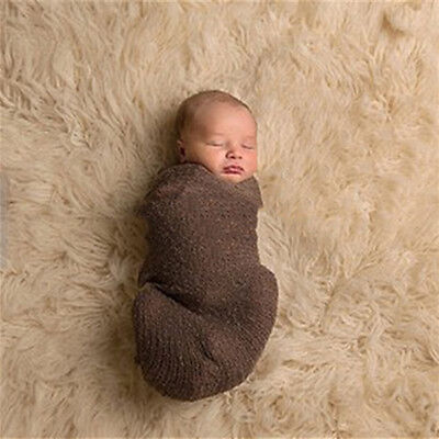 Newborn Baby Photography Photo Props Stretch Knit Swaddle Wrap Blanket Healthy