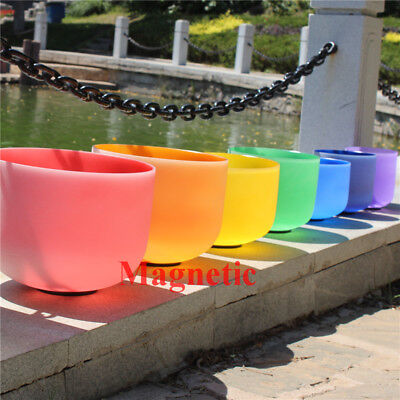 Magnetic 432Hz Chakra Tuned Set of 7 Color Crystal Singing Bowl 8''-14''
