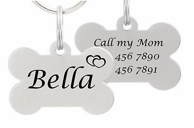 Double Sided Laser Etched Stainless Steel Pet ID Tag for Dog & Cat Tag Bone