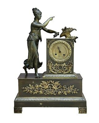 French Antique Beautiful Empire Ormolu Bronze Mantel Shelf Clock Woman Flower