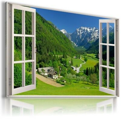 SUMMER HOLIDAYS ALPS 3D Window View Canvas Wall Art Picture Large  W518 MATAGA .