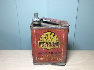 VERY RARE VINTAGE 1930s SHELL JUNIOR OIL TIN CAN