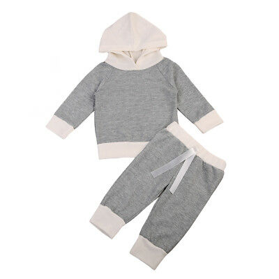 2PCS Newborn Infant Baby Boys Girls Clothes Hooded T-shirt Tops+Pants Outfits