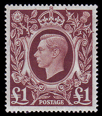 GB. KGVI. SG 478b, £1 BROWN, ARMS ISSUE. UNMOUNTED MINT.