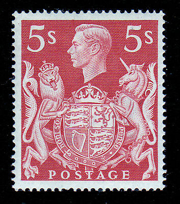 Gb. Kgvi. Sg 477, 5/- Red, Arms Series. Unmounted Mint.