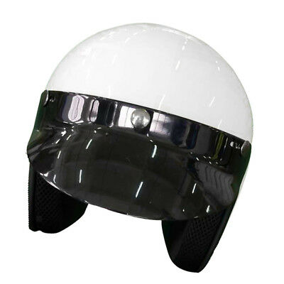 Bright White Open Face 3/4 Retro Vintage Motorcycle Helmet DOT Scooter