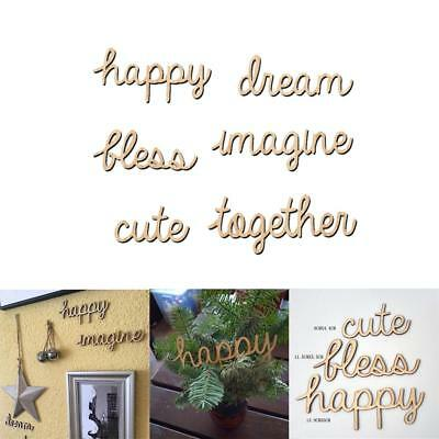 6pcs Wooden Happy Dream Together Word Letters Alphabet Script for Home Decor