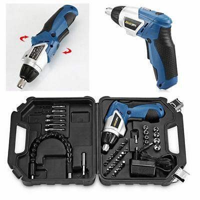 45Pcs Power Tool 180° Rechargeable Cordless Electric Screwdriver Drill Kit Set