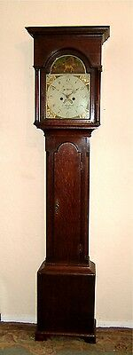 "Georgian ""Country"" Oak Longcase Grandfather Tallcase clock C1790"