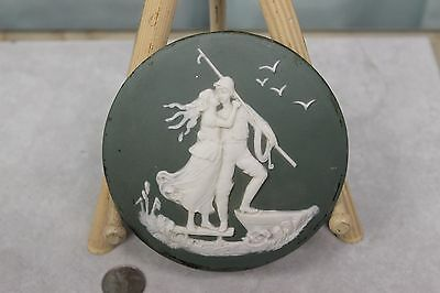 Circular Wedgewood Piece Depicting Woman Kissing Sailor Probably Hand Mirror