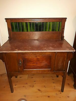 antique vintage oak marble topped washstand with matching mirror