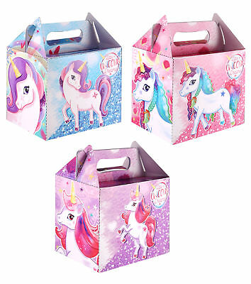 6 Unicorn Party Boxes - Toy Loot/Party Bag Fillers Wedding/Kids Food Meal