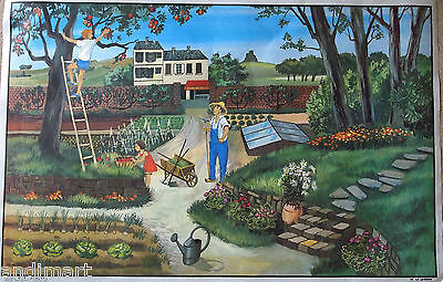 French Double Sided Classroom Poster 1960s/1970s The Garden/Autumn 100 x 65cms