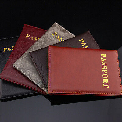Women Men Travel Passport Holder Leather Cover ID Credit Card Holder Wallet WC