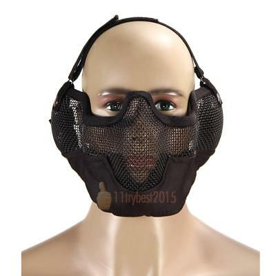 Tactical Hunting Metal Mesh Airsoft Paintball Protective Gear Half Face Mask CA