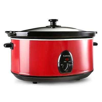 Premium Red Slow Rice Cooker Removable Ceramic Pot Outer Steel 6.5 L 300 W Red