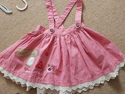 Next Baby Girl Pink Strawberry Bunny Dungaree Skirt 18-24 mths Great condition