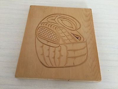 Hand carved raven Haida design plate