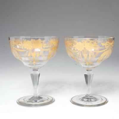Pair Heavily Gilded Antique Oversize Wine Glasses