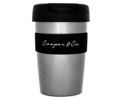 Cooper & Co. Reusable Coffee Cup 350mL - Silver/Black