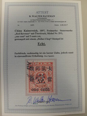 CHINA:Kaiserreich 1878, Mi.Nr.29 I Red Revenue with overprint 1 cents on 3 cent