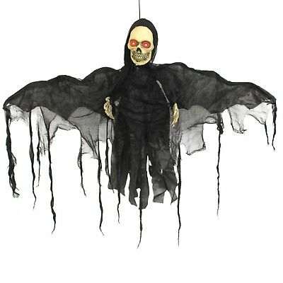 Halloween Haunters Animated Hanging Skeleton Bat Reaper with Moving Wings Prop