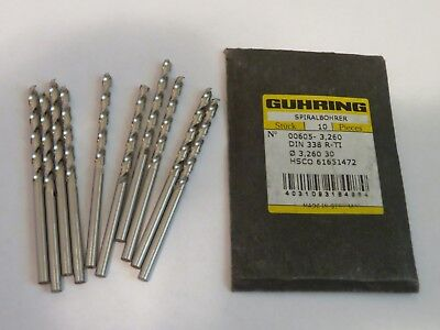 10 pcs GUHRING #30 number 30 / 3.26 mm HSS Cobalt Jobber Length Drills GERMANY