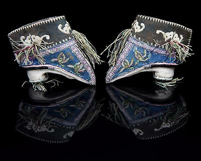 Antique 19thC Chinese SILK LOTUS SHOES for Bound Feet Foot Binding / Embroidered
