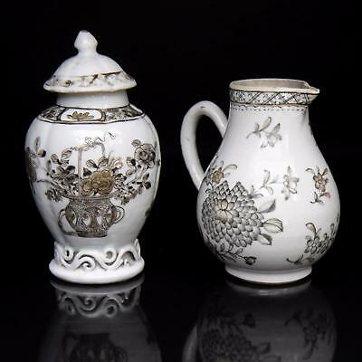 antique GRISAILLE TEA CADDY & CREAMER Chinese Porcelain 18th century QIANLONG