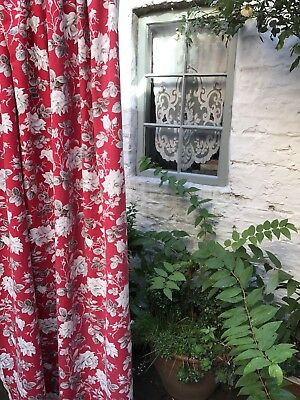 Antique French Toile Red Trailing Flora Fabric panel c1940s 74""